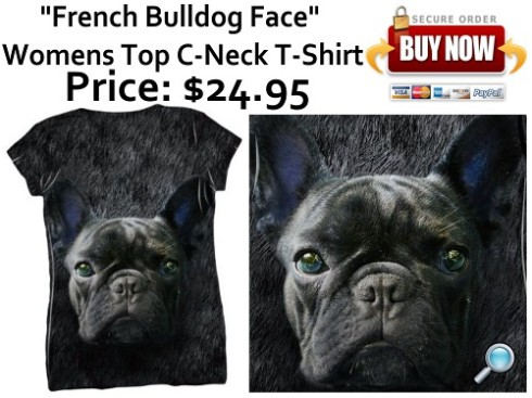 """French Bulldog Face"" Women's Top - C-Neck T-Shirt"